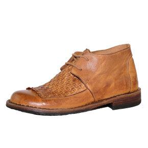 Bubetti - Bubetti 9803 kort dame støvle i cognac med flet