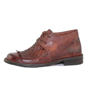 Bubetti - Bubetti 9803 kort dame støvle i kastanje brun med flet