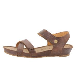 Cashott 17130 Brun Flad Sandal med Velcro - Cashott Sandaler - Brune Sandaler -