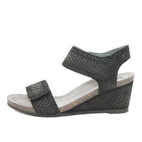 Cashott 13011 Sort Sandal med Kilehæl - Cashott Sandaler