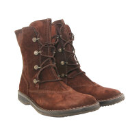 Bubetti - Bubetti 9832 Velour 538 brun snørestøvle i ruskind med gummisål