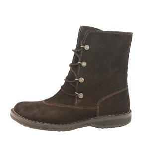 Bubetti - Bubetti 9832 Velour 539 mørk brun snørestøvle i ruskind med gummisål