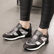 DL Sport - DL Sport 4255 sort dame sneaker med snake detaljer