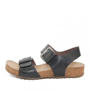 Lofina - Lofina 808 sort dame sandal med fodseng