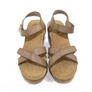 Cashott - Cashott 20271 taupe dame sandal med kilehæl