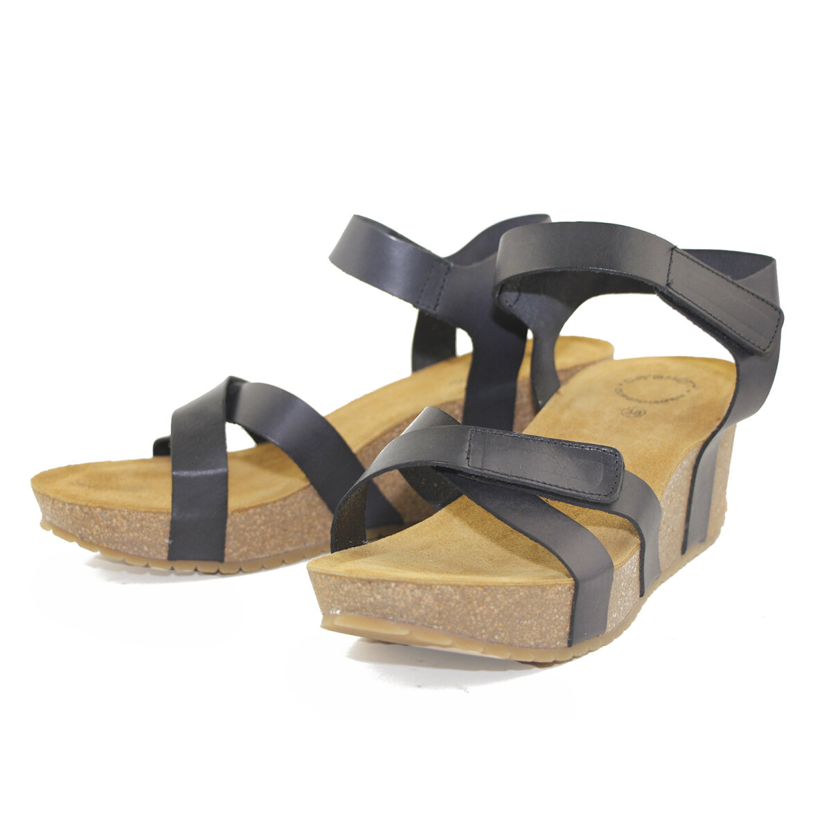 PIEDI Cashott 20271 Sort dame sandal med kilehæl Piedi.dk
