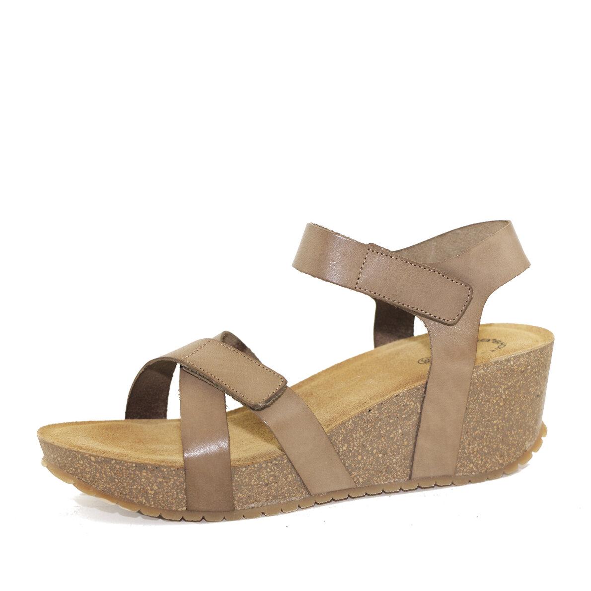 PIEDI Cashott 20271 Taupefarvet dame sandal med kilehæl