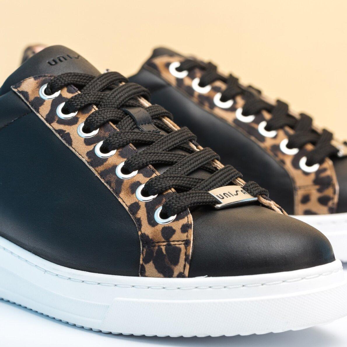 2d6e138d Unisa Franci - Sort dame sneaker med leopard print - Piedi.dk