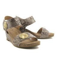 Cashott - Cashott 8020 beige brun dame sandal med kilehæl