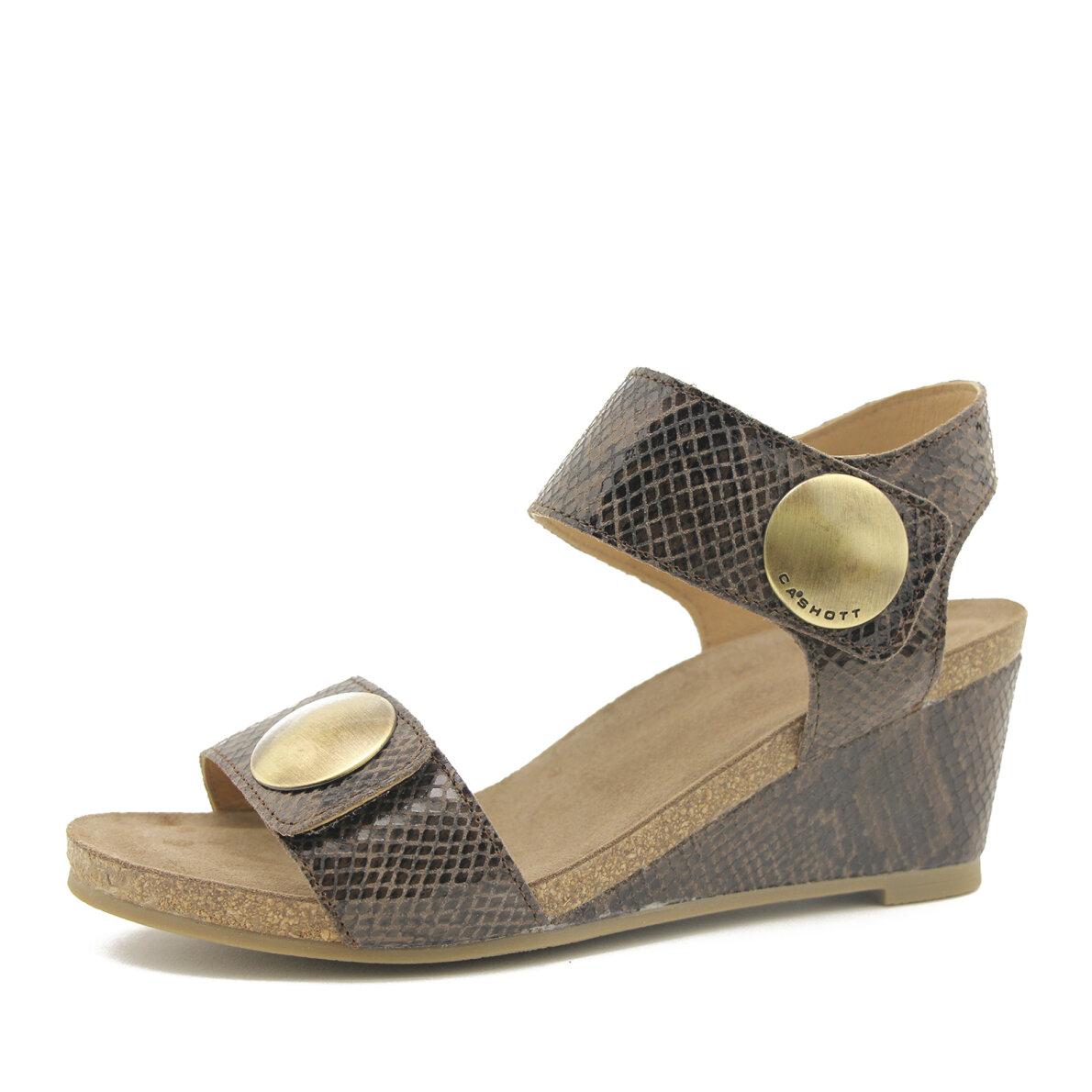 PIEDI Cashott 8020 brun dame sandal med kilehæl Piedi.dk