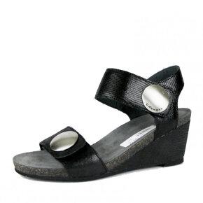 Cashott - Cashott 8020 sort dame sandal i præget skind med kilehæl