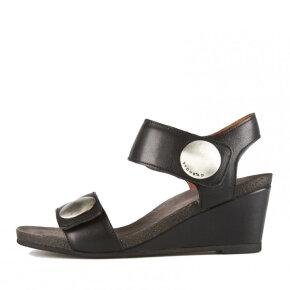 Cashott - Cashott 8020 sort dame sandal med kilehæl