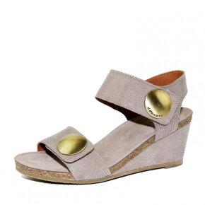 Cashott - Cashott 8020 taupe dame sandal med kilehæl