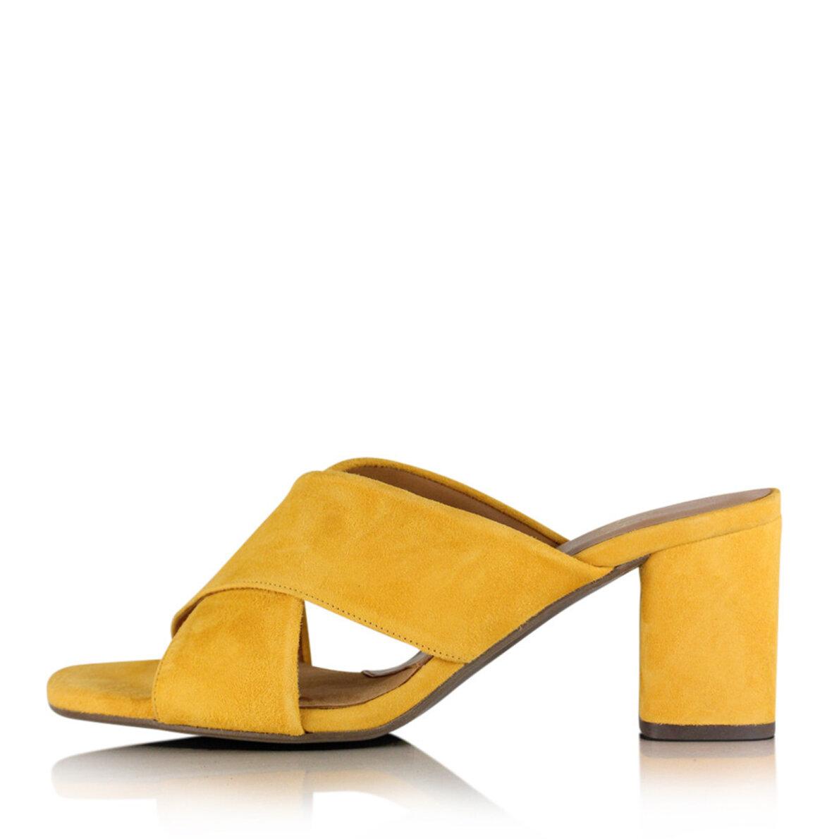 d4bd1855468 Billi Bi 8111 - Gul slip in sandal med chunky hæl - Piedi.dk