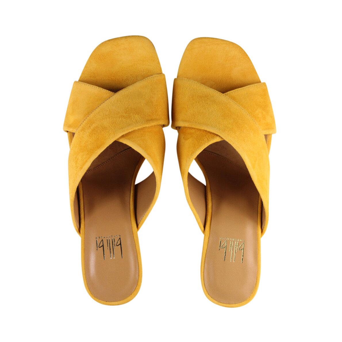 988f03c99a1 Billi Bi 8111 - Gul slip in sandal med chunky hæl - Piedi.dk