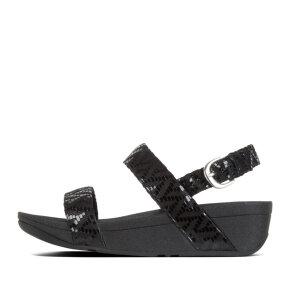 Fitflop - Fitflop Lottie Chevron sort dame sandal med rem bagtil