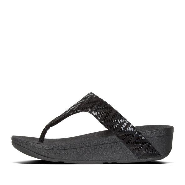 Fitflop - Fitflop Lottie Chevron sort tåstrop sandal