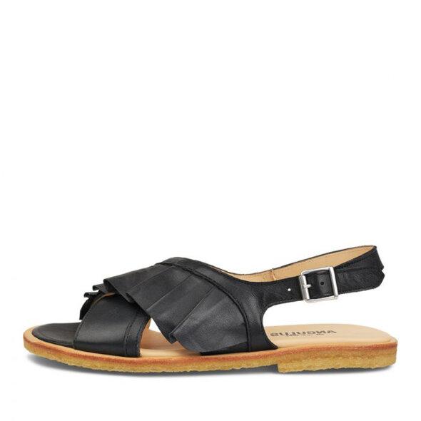 Angulus - Angulus 5538-101 sort dame sandal med flæse