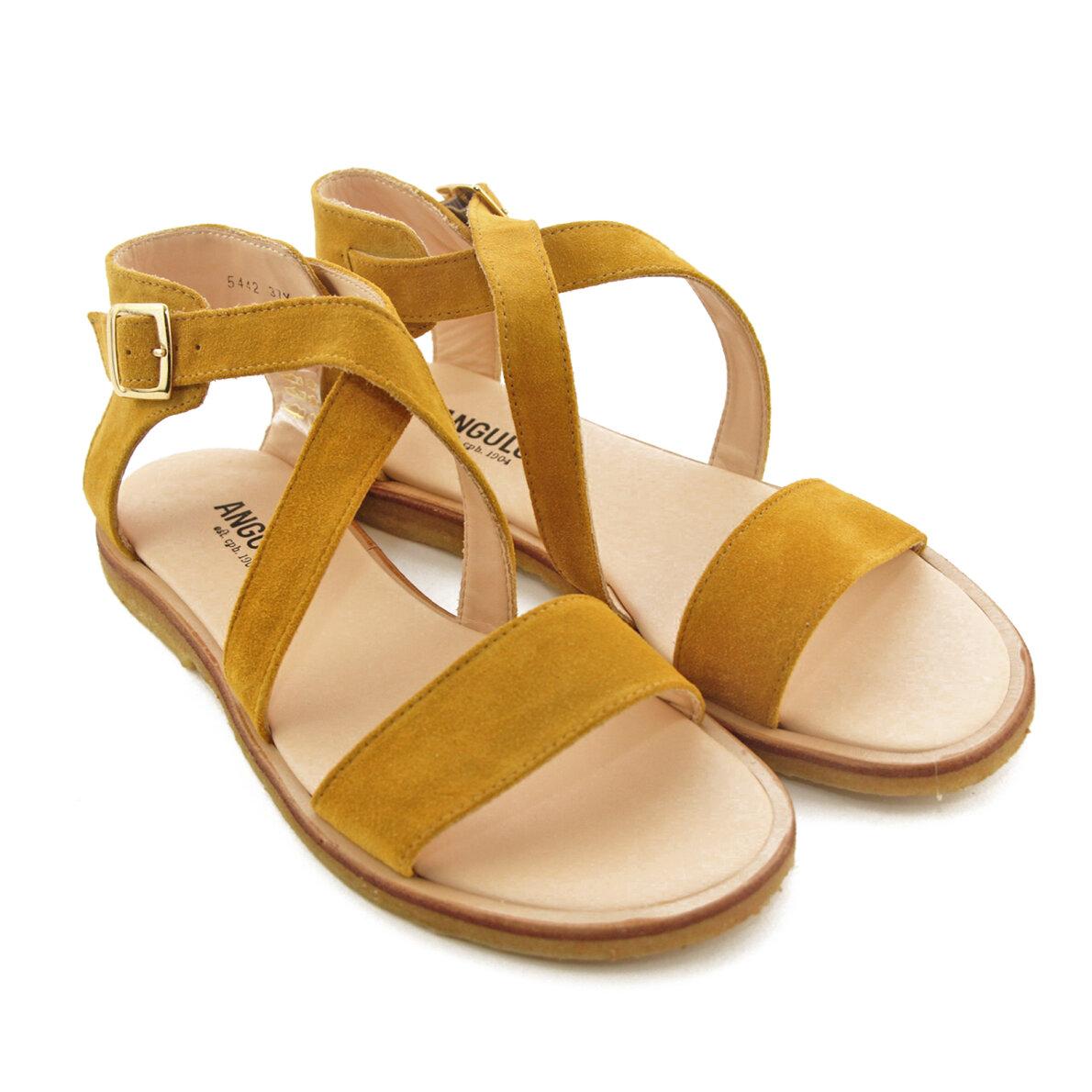 a55f36119c85 Angulus 5442 Gul - Dame sandal med spænde - Piedi.dk