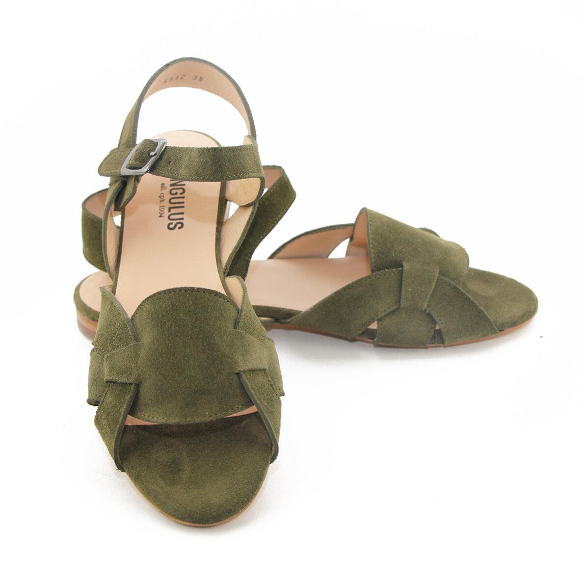 2b401da9f9d4 Angulus 5542 oliven grøn dame sandal med fletdetalje - Piedi.dk