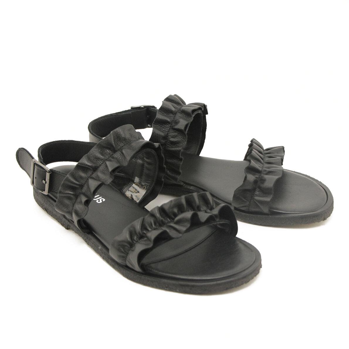 bb219fb08232 ... Angulus - Angulus 5558 sort dame sandal med flæser ...