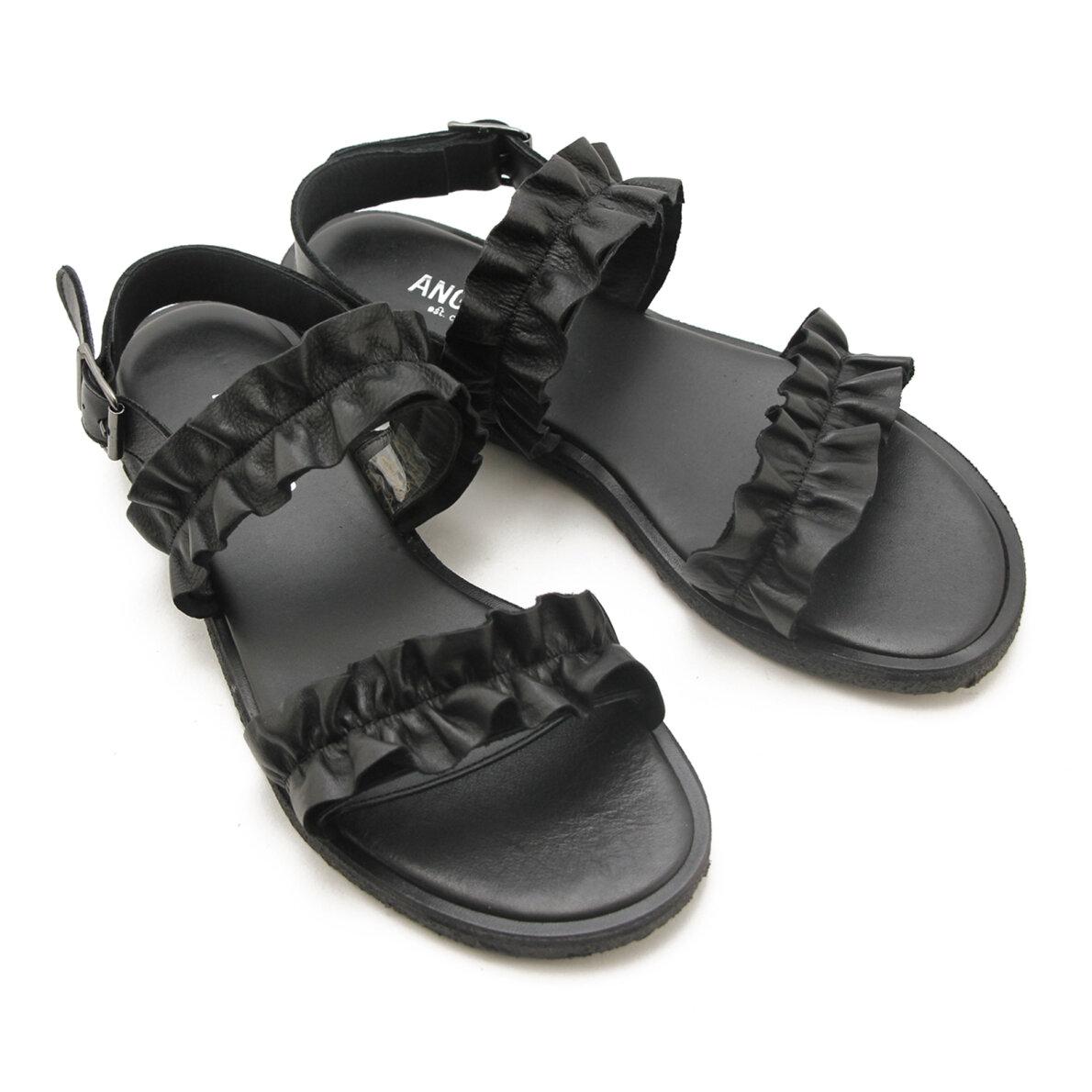 b4afb5c37015 ... Angulus - Angulus 5558 sort dame sandal med flæser