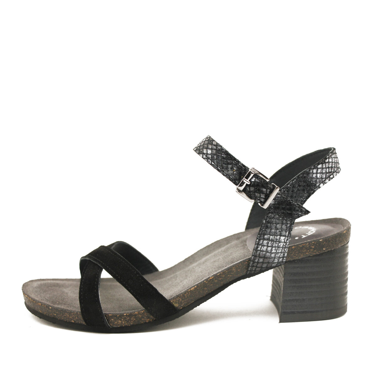 PIEDI Cashott 21062 Sort Høj dame sandal med snakeprint