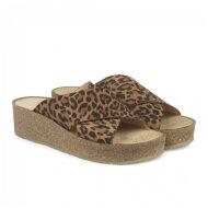 Angulus - Angulus 5601-101 leopard damesandal med blød fodseng