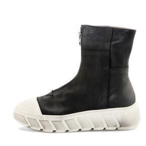Lofina - Lofina I9-643 sort damestøvle med lynlås fortil og hvid sål