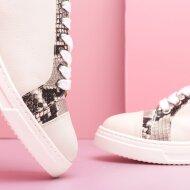 Unisa - Unisa Fiyola Beige Dame Sneaker med Snake Print