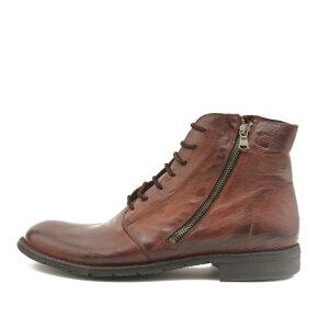 Bubetti - Bubetti 8546 kastanjebrun herre snørestøvle med dobbelt lynlås