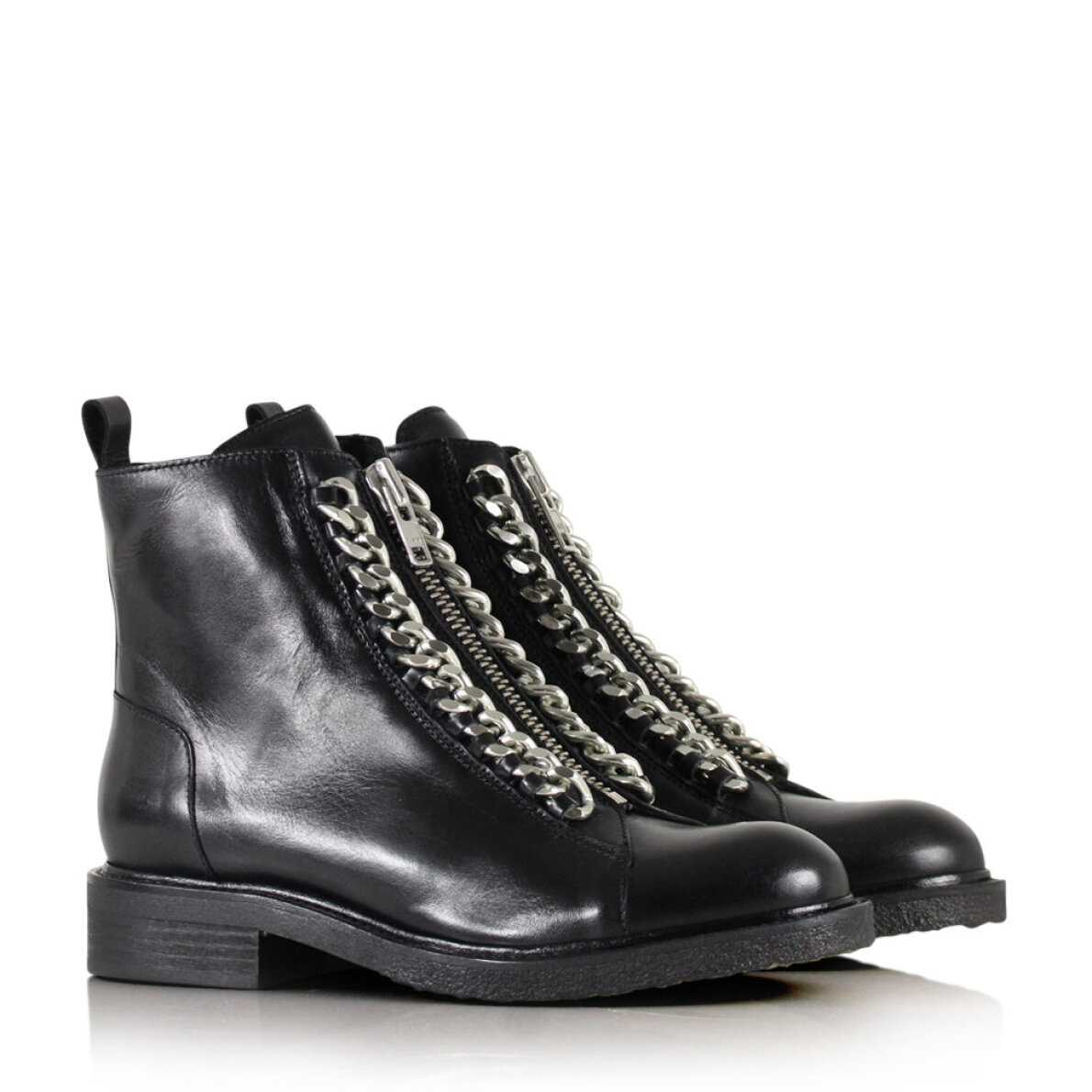 PIEDI Billi Bi 7428 Sort Damestøvle med Sølvfarvet Kæde