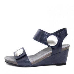 Cashott - Cashott 8020 navy dame sandal med kilehæl