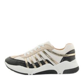 Billi Bi - Billi Bi Sport 4860 Dame Sneaker i hvid og nude med guldstriber