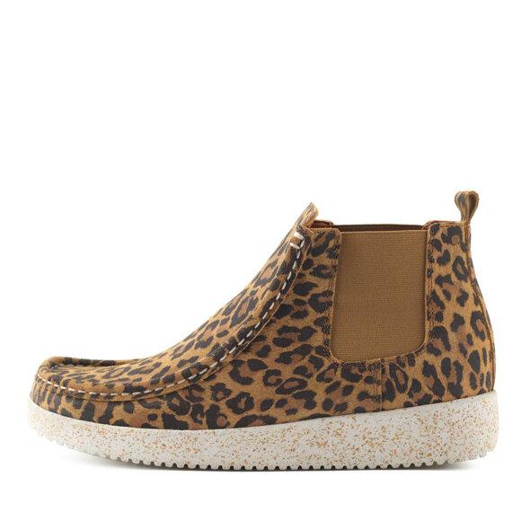 Nature  - Nature Ester Suede Dame Chelsea Støvle i Leopard