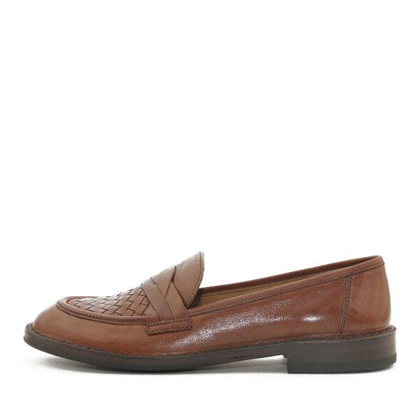 Bubetti - Bubetti 9912 Smart 756 Cognac Dame Loafer med Flettet Skind