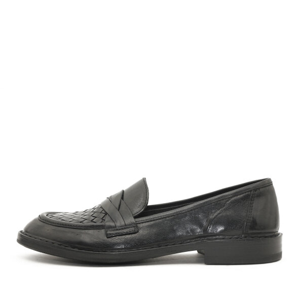 Bubetti - Bubetti 9912 Smart Nero Sort Dame Loafer med Flettet Skind