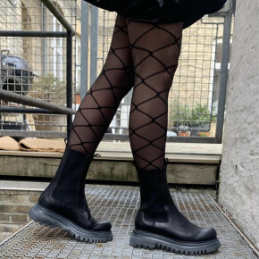 Lofina - Lofina 2I-602 Sort Chelsea Damestøvle med Chunky Sål