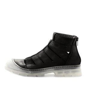 Lofina - Lofina E9-251 åben damestøvle i sort skind med transparent sål