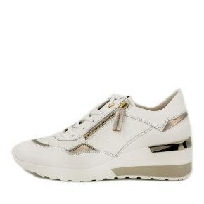 DL Sport - DL Sport 5073 Hvid Dame Sneaker med Gulddetaljer
