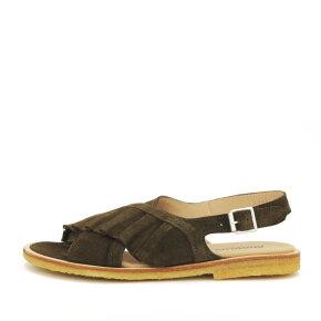 Angulus - Angulus 5538-101 oliven dame sandal med flæse