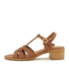 Billi Bi - Billi Bi 2850 cognac skind sandal med lav chunky hæl