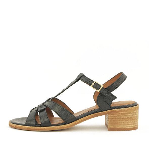 Billi Bi - Billi Bi 2850 sort skind sandal med lav chunky hæl