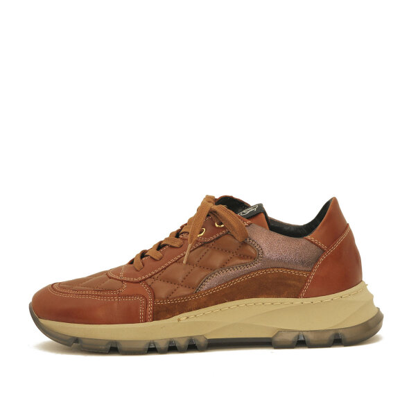 DL Sport - DLSport-6053-damesneaker-cognac-quiltet-med-bronze-detalje-beige-sål