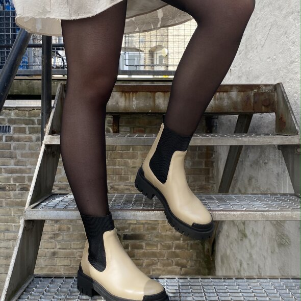 Angulus - Angulus 7653 Beige Dame Skind Støvle med elastik